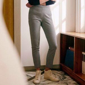 Sezane Clara Black Ecru Houndstooth Trousers FR40